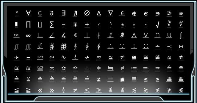 Unusual symbols from Uniconsole Free App