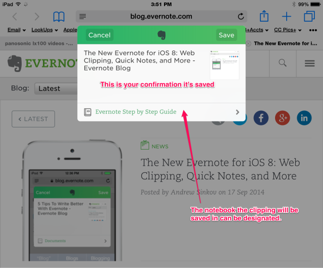 Saving a web clipping in Evernote ios 8