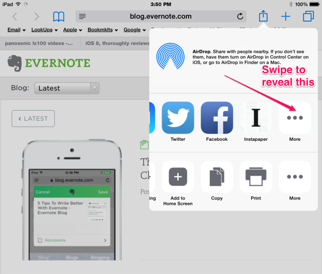 More for app and actions Safari ios 8