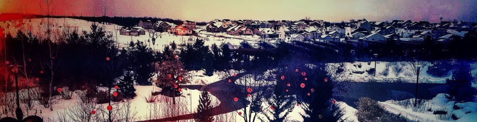 Stylized rural suburb wintertime scene