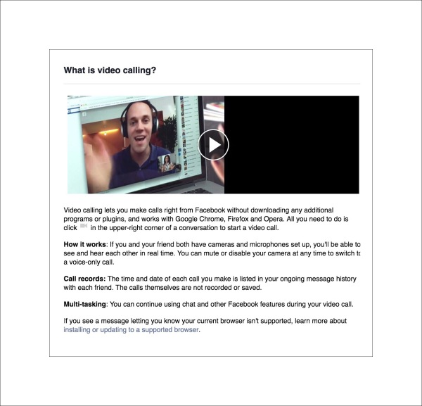 Video Calling in Facebook messenger