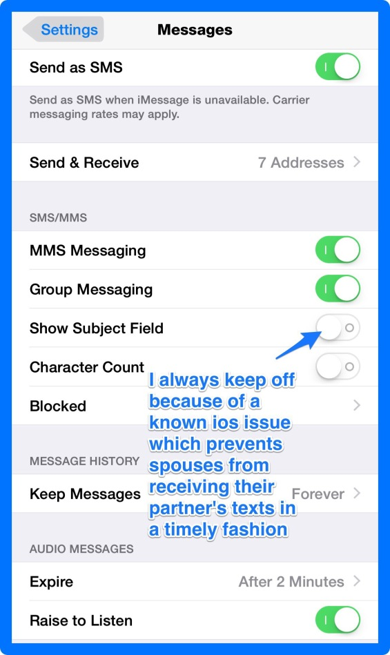 Unchecking Show Subject Field iPhone 6 Text Message Settings