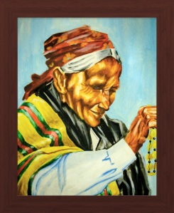 A Bead Vendor Oil Painting