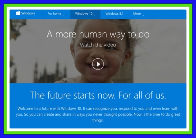 Screenshot of Microsoft's Window's 10 Promotional Video