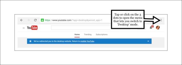 Screenshot showing how to switch to desktop mode