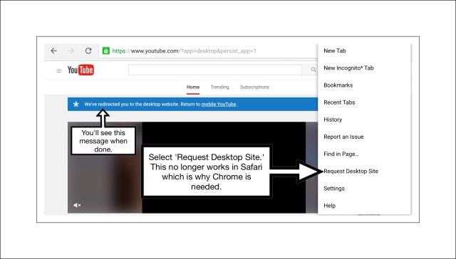 Screenshot showing you've switched to desktop mode