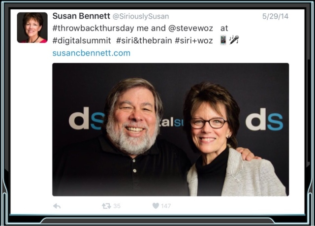 Susan Bennett's recent 'coming out' to the world as the person who's voice was used for Siri has become a celebrity in her own right since the big news was unveiled. You can follow her on Twitter @SirioulsySusan