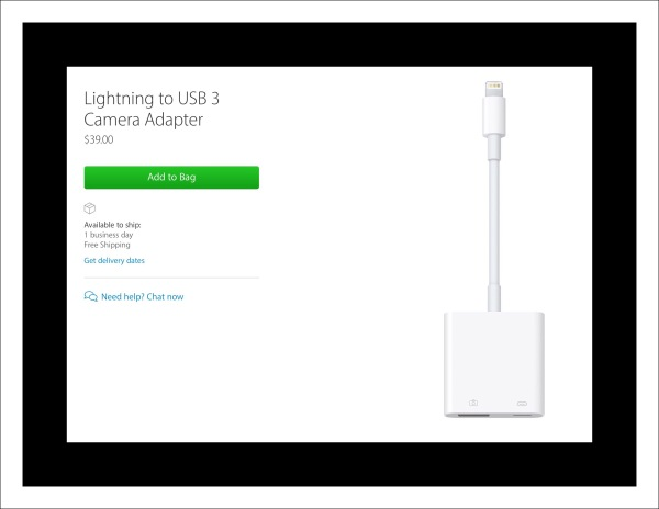 Apple's new lightening to usb 3 camera adapter