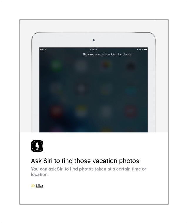 Siri can search your photographs for specific ones
