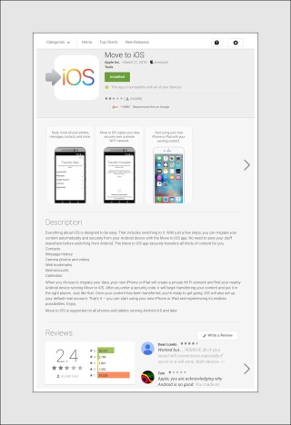 The Move to ios app in Google PlayE