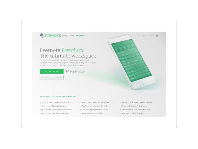 Evernote Premium Plan Features