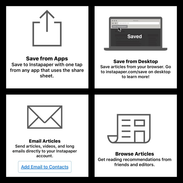 The different ways to save to Instapaper
