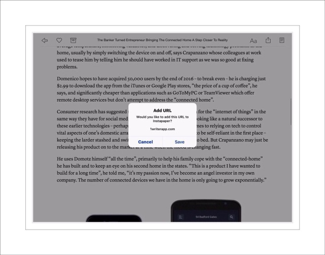 Instapaper offers to save recent items