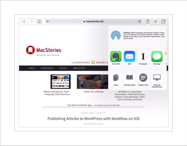 Instapaper share options