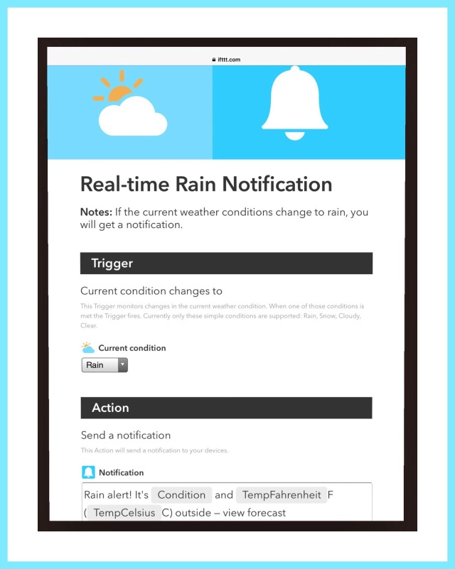 IFTTT can notify me when it will rain.