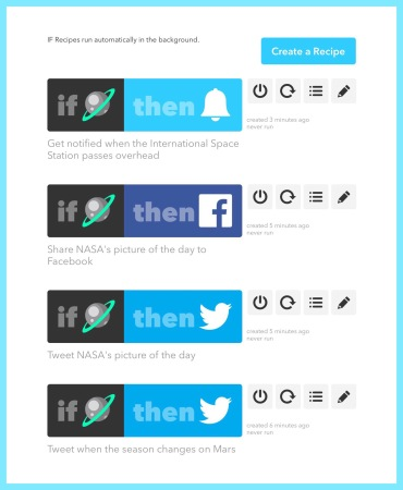 Some of my most recently added IFTTT recipes