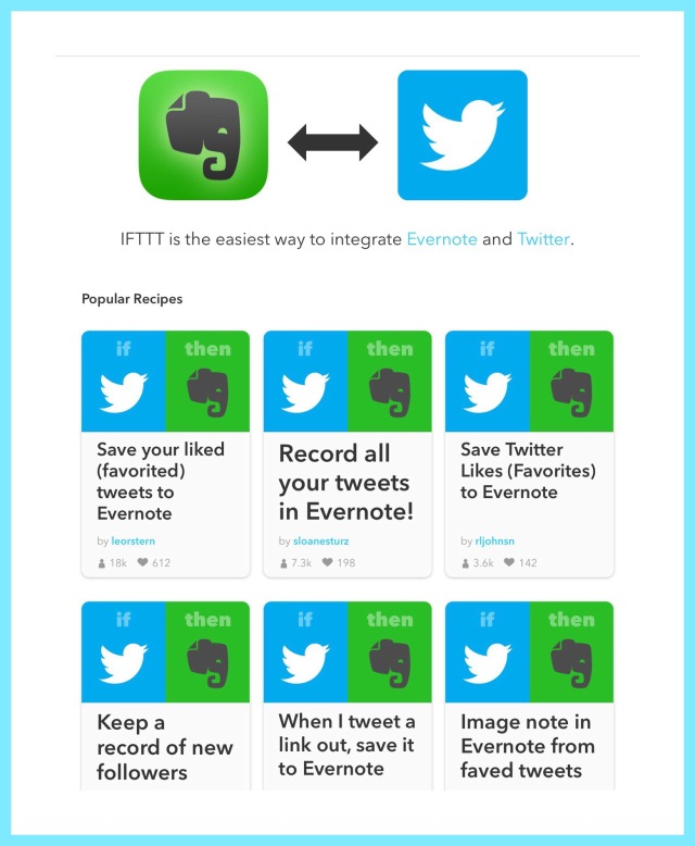 Some cool Twitter - Evernote Recipes