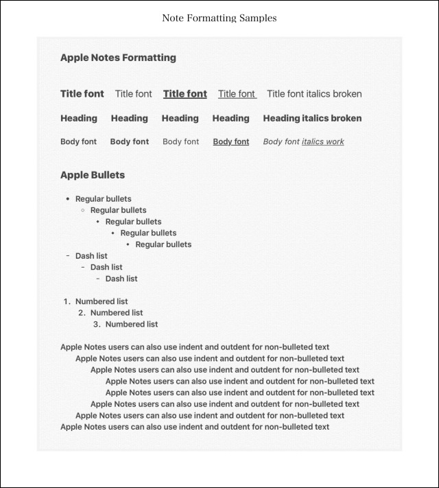 Apple Formatting Sample