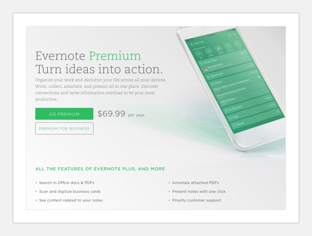 Evernote Premium Features