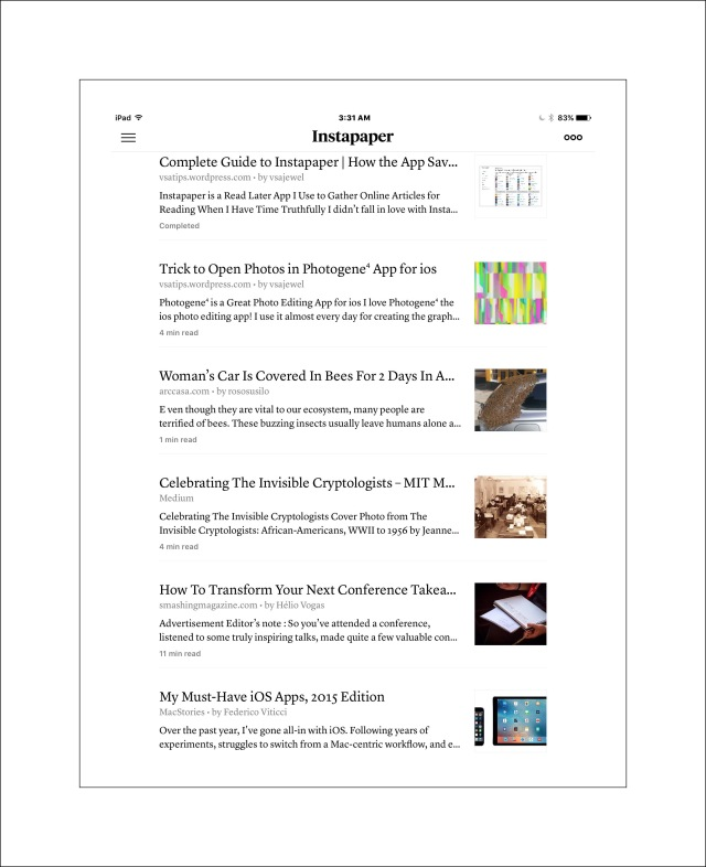 Instapaper's simple, clean iPad & iPhone display