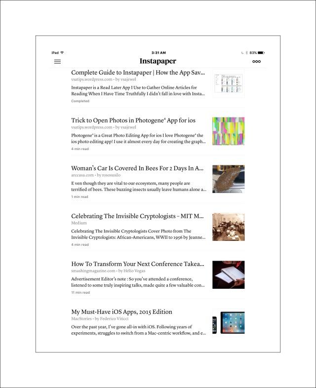 Instapaper's simple, clean iPad & iPhone display