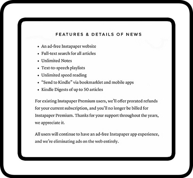 New free feature of Instapaper