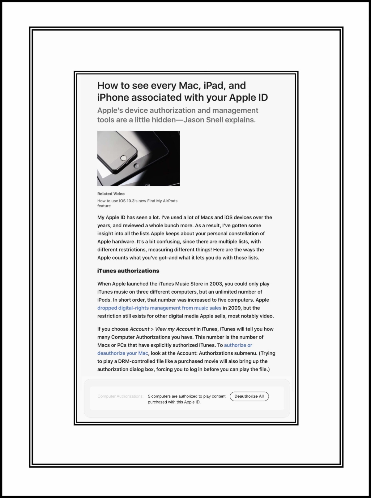 MacWorld Article by Jason Snell