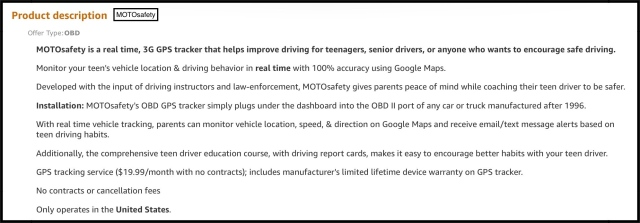 Product Description for MOTOsafety OBD Tracker