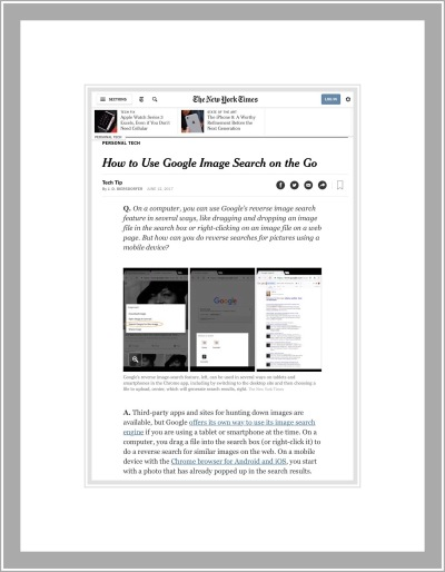 The New York Times piece on Google Image Search on the Go