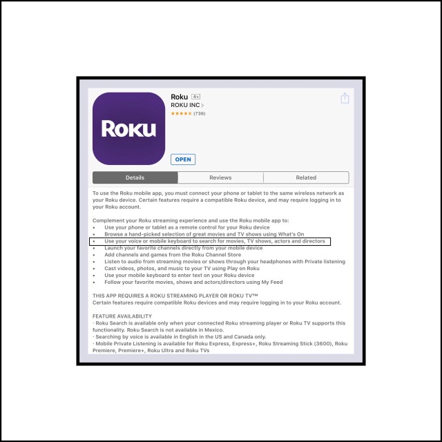 Roku's ios app with Voice Search