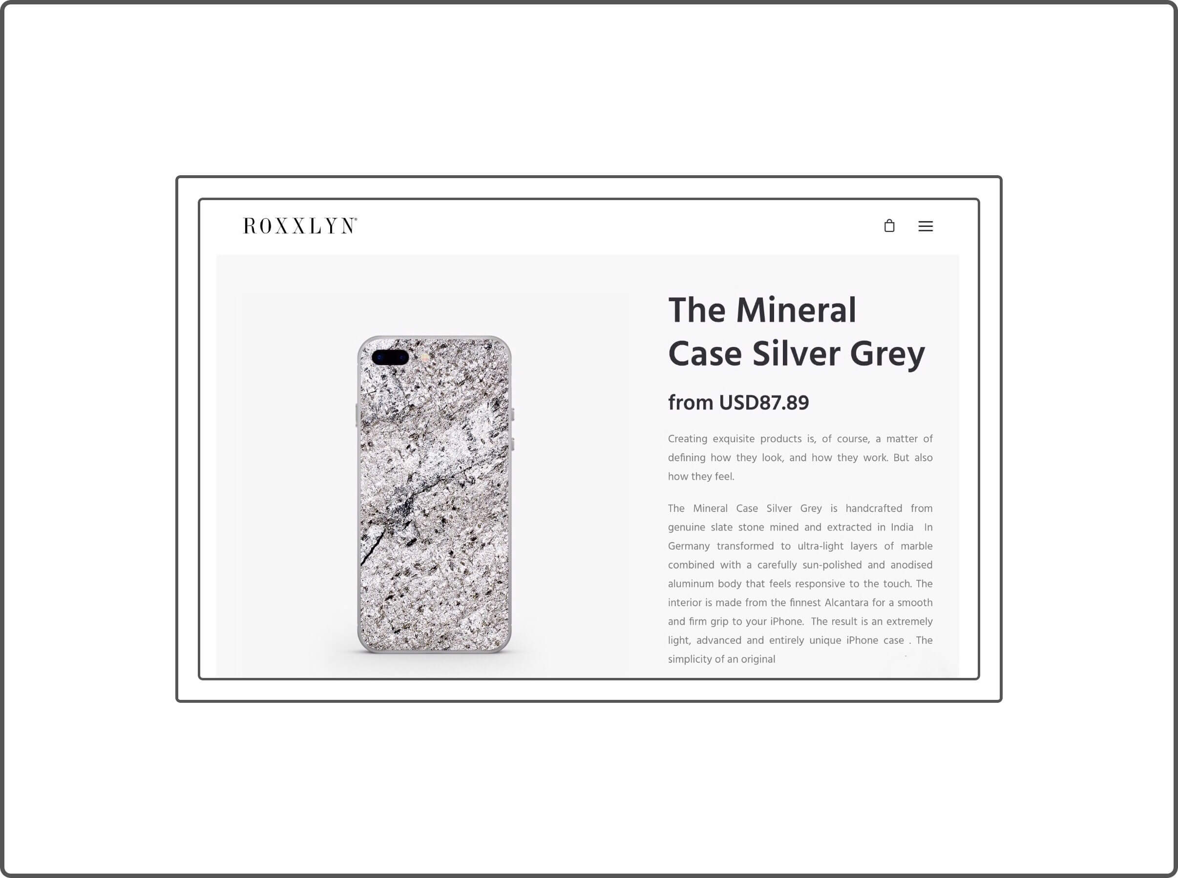 Roxxlyn's silver Grey Mineral Case