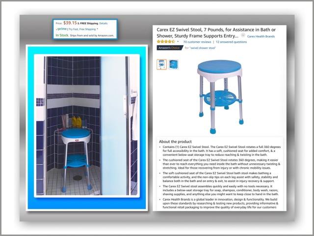 Swivel shower stool