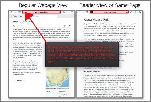 Regular View and Reader View of a Wikipedia webpage