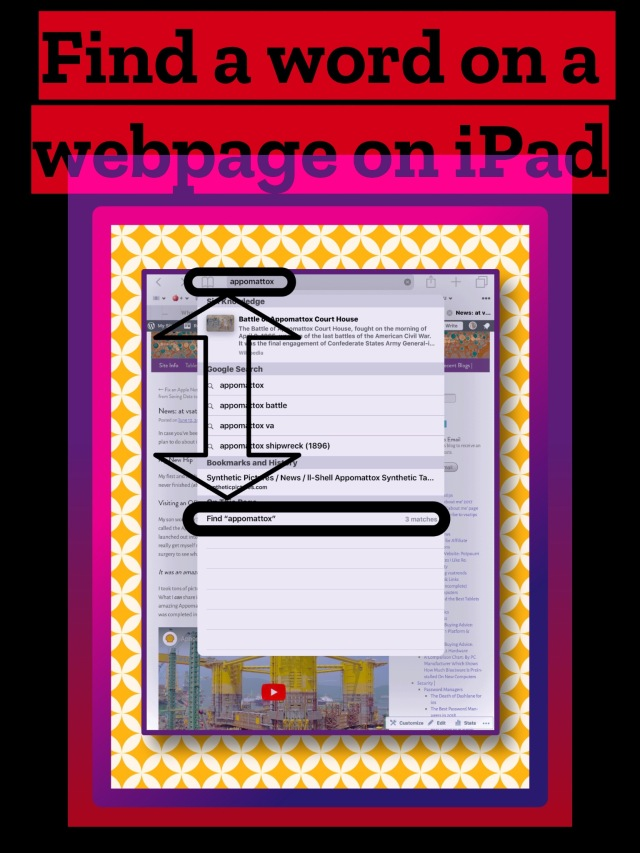 Find a word on a webpage on iPad