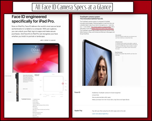 All Face ID Camera Specs at a Glance