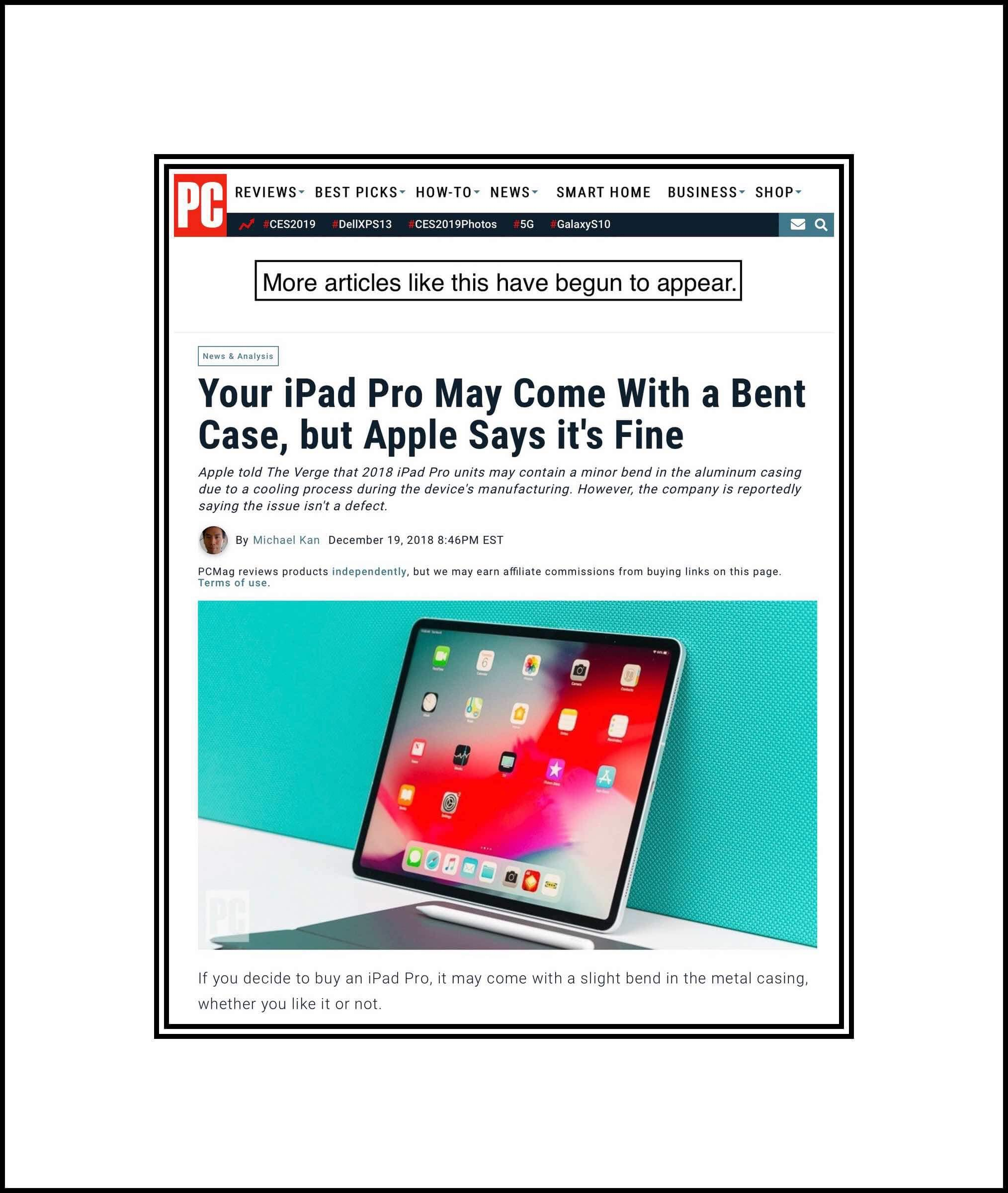 PC Magazine's article about bend gate 2 for iPad Pros